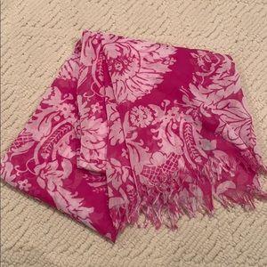 J.Crew pink damask pattern scarf